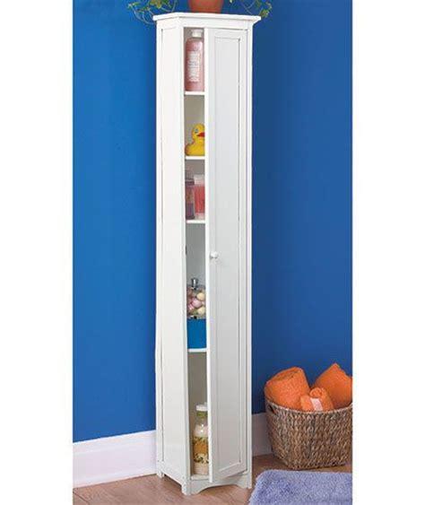 white tall slim wooden cabinet  shelves bathroom