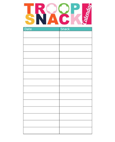 snack calendar template troop snack calendar doc type in or pdf write in