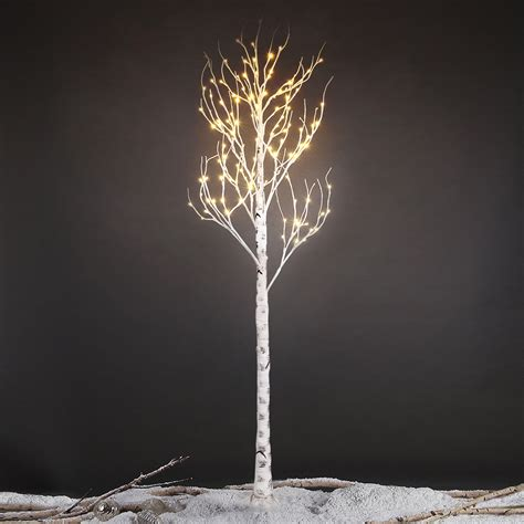 7ft tree with lights 2 1m 7ft 120led silver birch twig tree light warm white