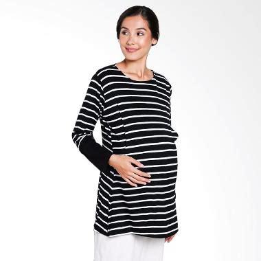 Dress Hitam Tangan Salur jual mamigaya imma salur baju hitam putih