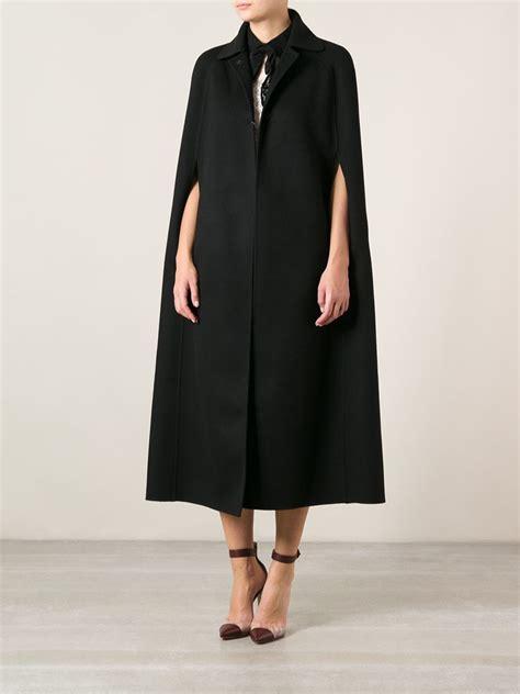 19664 Black Cape Blazer Coat lyst valentino cape coat in black