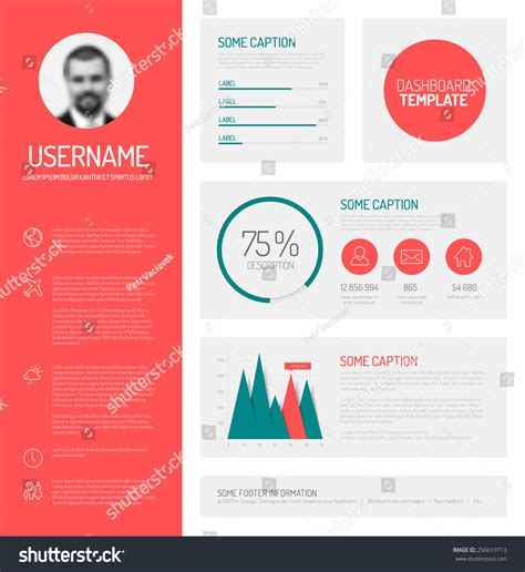 flat design company profile simple profile dashboard template with flat design graphs