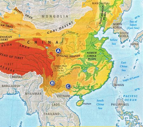 physical map of china monsoon asia physical map