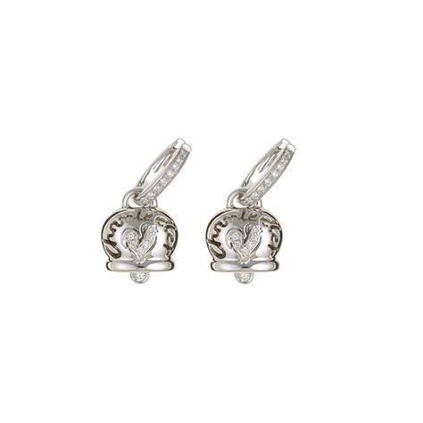 orecchini medi in oro bianco diamanti e gallo in pav 195 169 di