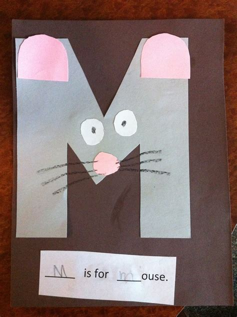 m is for mouse pre k letter m craft education