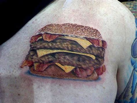 burger tattoo bacon cheeseburger eat me daily