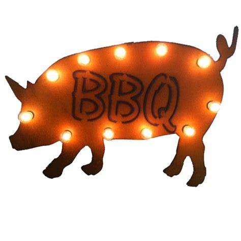 Universal Iron Lighted Bbq Pig Sign Mlby008bbq Light Up Pig Decoration