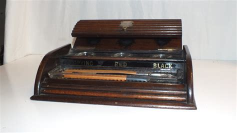 Desk Plaques Engraved by Antique Wooden Desk Tidy Inkwell Pen Stand With Engraved