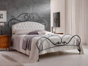 Ideas Design For Iron Headboards Infabbrica Ethos Wrought Iron Bed With Tufted Headboard Decoist