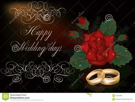 Wedding Time Images by Happy Wedding Day Card With Golden Rings Stock Vector