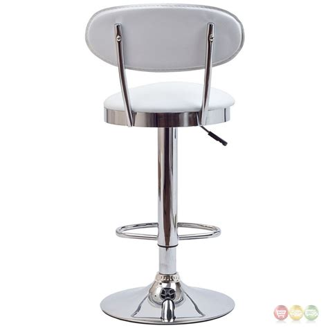 Chrome Bar Stools With Back | retro modern mid back vinyl bar stool w chrome base white
