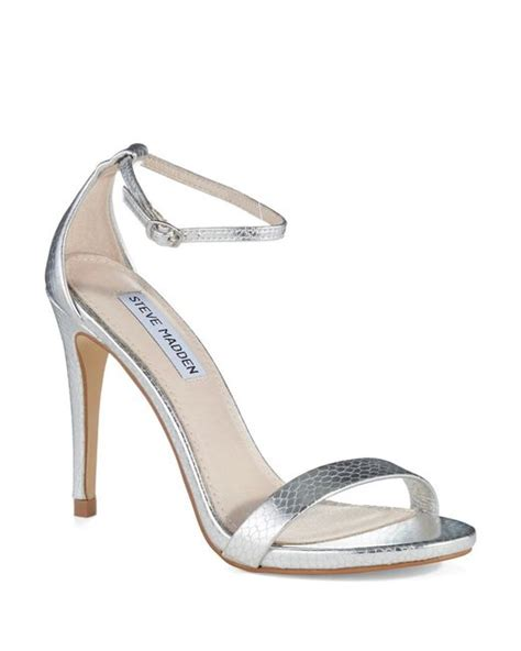 steve madden strappy sandals steve madden stecy strappy sandals in silver lyst