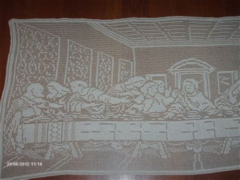 filet crochet patterns for home decor christmas sale the last supper filet crochet tablecloth