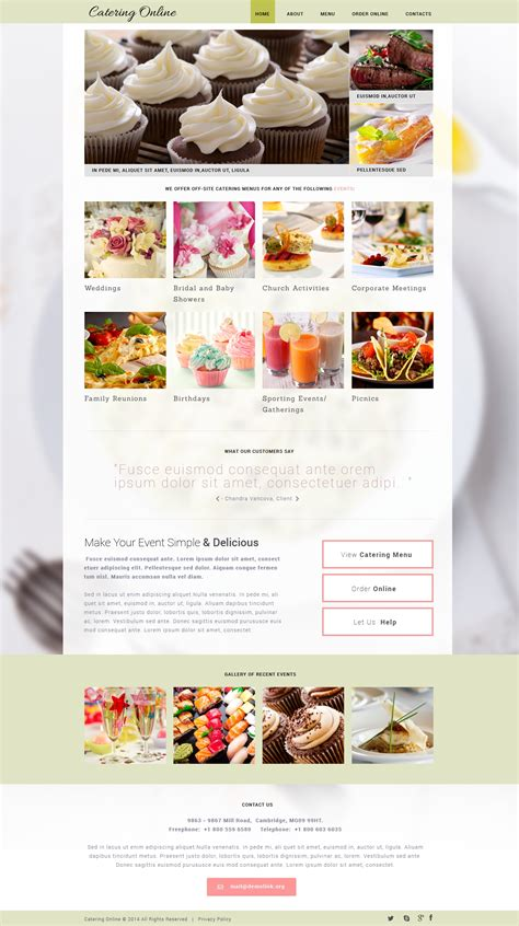 templates for catering website catering responsive website template 48460