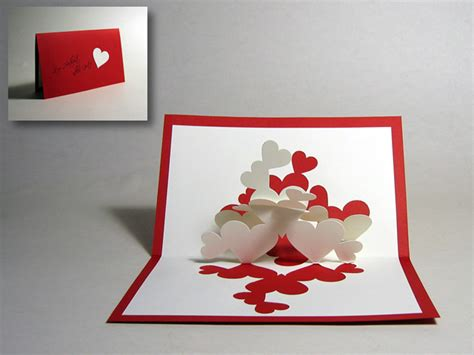 how to make a pop up valentines card kirigami quot pile of hearts quot pop up card happy folding