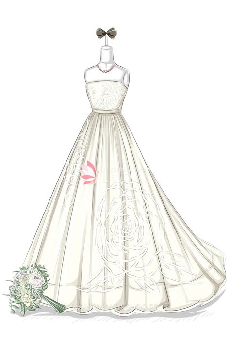 fashion illustration wedding dresses fashion illustration of pattern floor length gown strapless bridal gown lunss couture