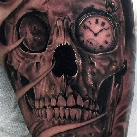 eye tattoo with skull gorgeous painted and designed realistic looking black ink
