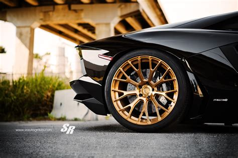For Your Viewing Delight: Black Aventador on Gold Wheels