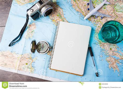 travel trip vacation tourism mockup tools stock image