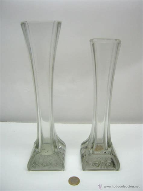 2 antiguos jarrones floreros altos de cristal comprar - Floreros Altos
