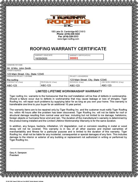 roof certification form template roofing warranty certificate warranty certificate templates