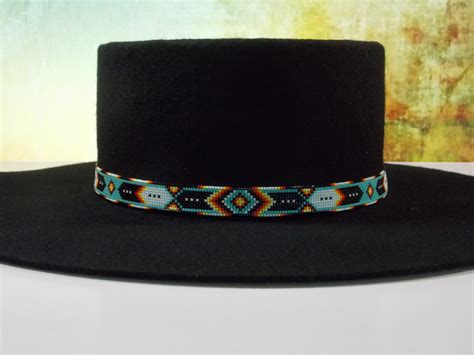 beaded hat band green turquoise chevron american beaded hat band