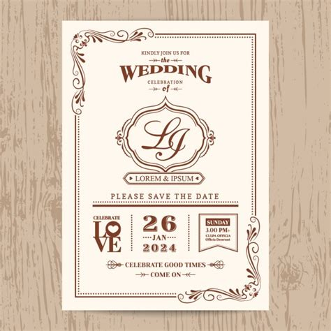 Wedding Invitation Vector by Wedding Invitation Vintage Style Vector Free