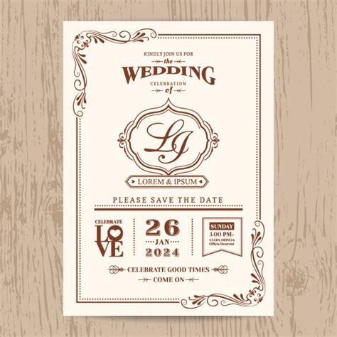Wedding Invitations Vintage Style by Wedding Invitation Vintage Style Vector Free