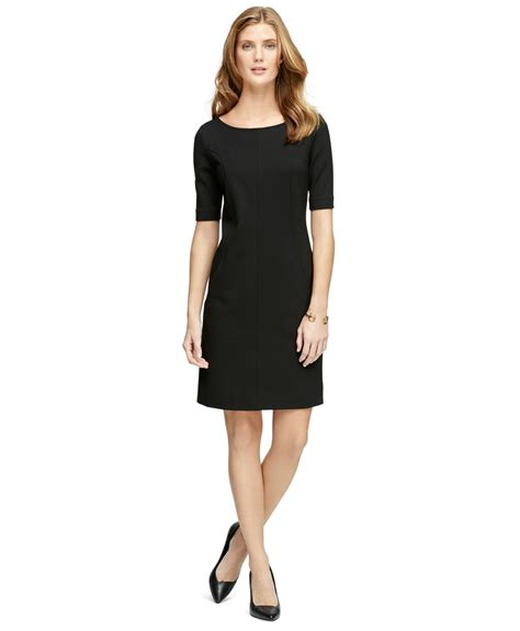 ponte knit dresses brothers ponte knit dress in black lyst