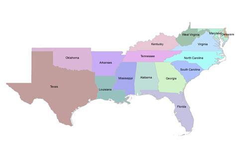 map of the southern usa southern region us states map regions explained
