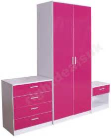 Ottawa caspian high gloss pink and white bedroom furniture set 3