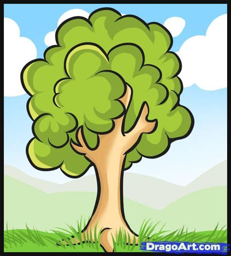 simple drawing tree how to draw a simple tree step by step trees pop