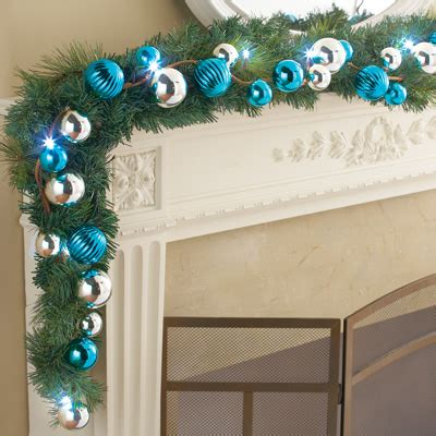 lighted ornament garland lighted blue and silver ornament garland from