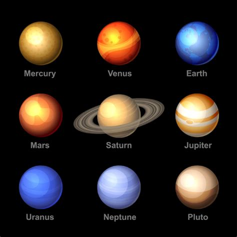 planet colors planets with name vector set 02 free