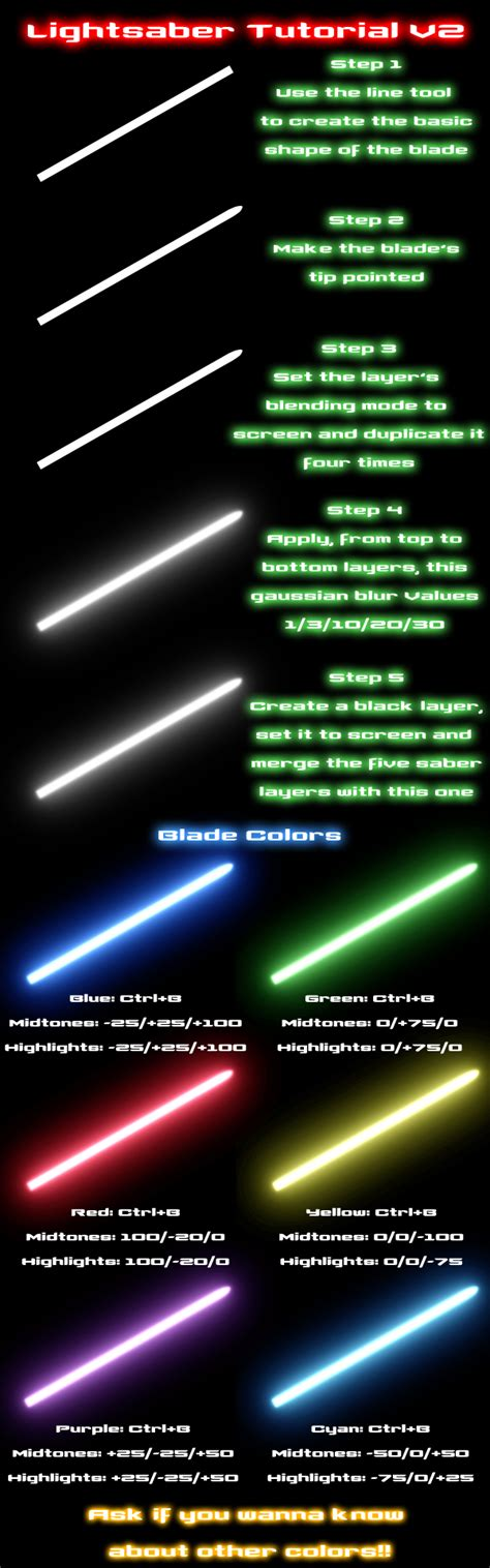 what is my lightsaber color lightsaber tutorial v2 by nico89 fx on deviantart