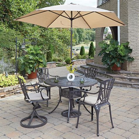 Umbrella For Patio Set Home Styles Largo 5 Patio Dining Set With Umbrella And Cushions 5561 32586c The Home Depot
