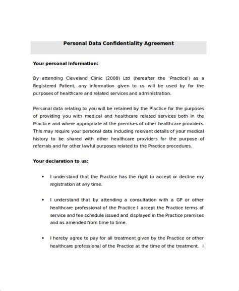 Personal Agreement Letter Template 9 Personal Confidentiality Agreement Templates Free Sle Exle Format Free