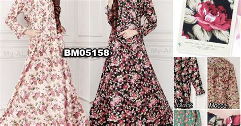 Baju Indah Bordir Sidoarjo pusat grosir busana muslim murah sidoarjo bm05158 gamis katun jepang busui resleting depan by