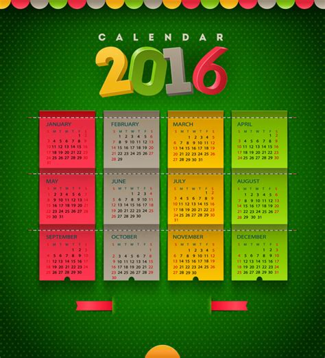2016 calendar template illustrator