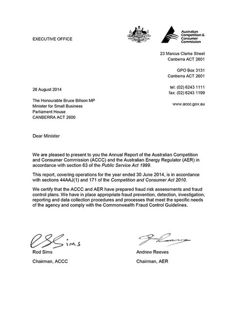 Transmittal Letter Sle For Accc And Aer Annual Report 2013 14 Accc