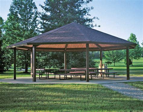 metall pavillon steel frame single roof santa fe octagon pavilions