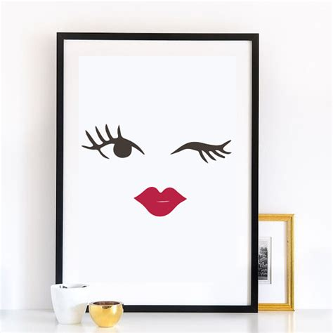 makeup wall art printable makeup blinked eye print wall decor minimal wall by