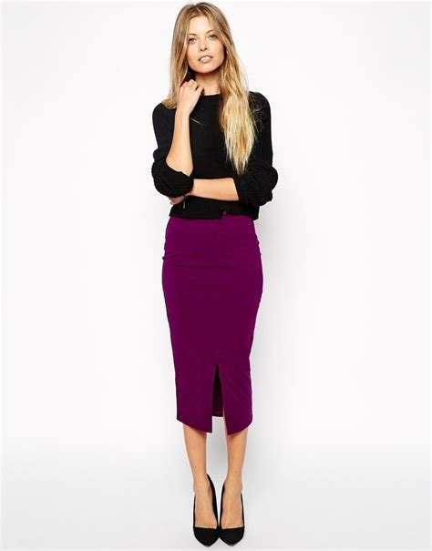 asos collection midi pencil skirt with front split where