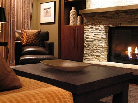 ledgestone fireplace living room contemporary with