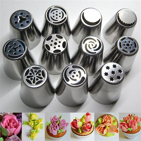 Kitchen Accessories Cupcake Design 11pcs Stainless Steel 169 Russian Russian Tulip Icing Piping Nozzles Pastry 169 Decorating