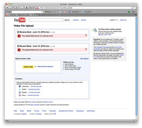 blogger upload failed server rejected never impressed youtube says the upload failed due to