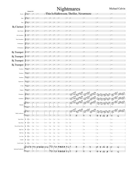 Nightmares sheet music for Flute, Clarinet, Piccolo, Alto