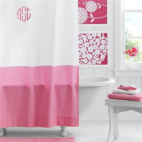 Bright Pink Bathroom Accessories Classic Border Shower Curtain Bright Pink Pbteen