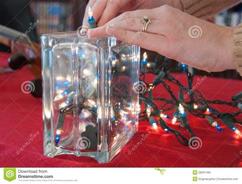 glass block christmas light lights in a glass block stock photos image 28261493