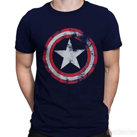 T Shirt Captain America Navy captain america distressed shield navy t shirt